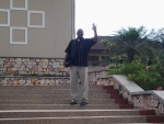 Bro. Jack (outside the University) getting ready for his youth talk
