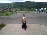 Sis. Erika (outside the university) getting ready for the Modesty Presentation